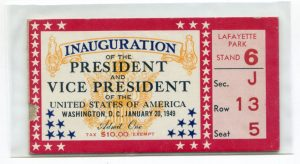 scanned image of one side of a ticket to Harry S. Truman's inauguration
