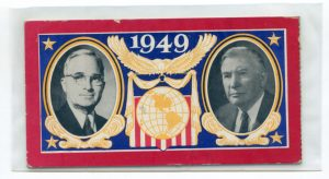 scanned image of one side of a ticket to Harry S. Truman's inauguration with pictures of the President and Vice President and a globe and eagle in between them with the year 1949 in the center