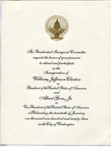 scanned image of an invitation to the inauguration ceremony of Bill Clinton